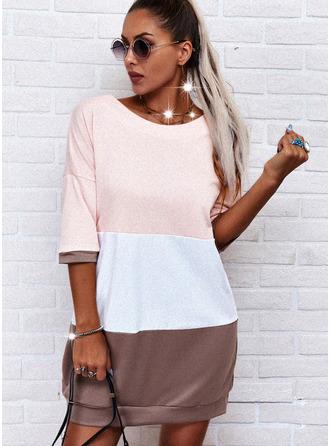 Blok Koloru Suknie shift Rękawy 1/2 Mini Nieformalny podkoszulek Modne Suknie