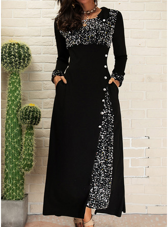 Sequins A-line Long Sleeves Maxi Elegant Skater Dresses