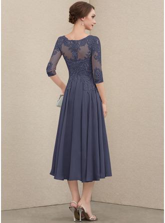 Round Neck Lace Chiffon Chiffon Lace Dresses