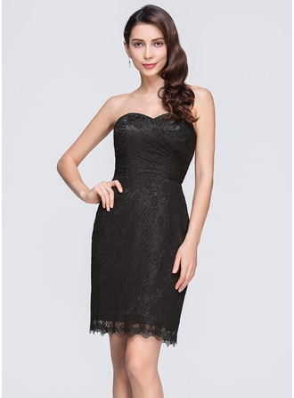 Sheath/Column Sweetheart Short/Mini Lace Cocktail Dress With Ruffle