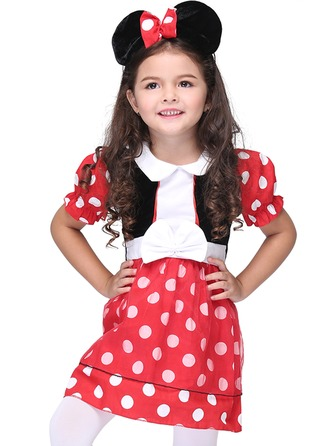 A-Line/Princess Knee-length Flower Girl Dress - Polyester Short Sleeves Stand Collar