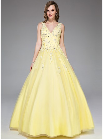 Платье для Балла V-образный Длина до пола Тюль Платье Для Выпускного Вечера с кружева Бисер блестками