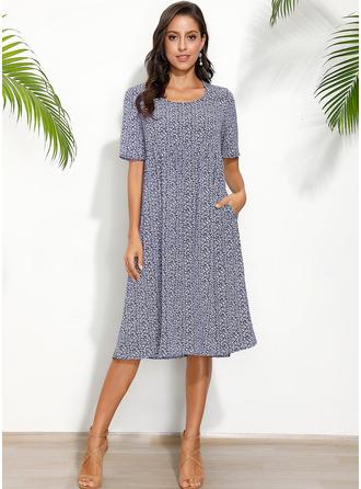 Midi Round Neck Polyester Print Short Sleeves Fashion Dresses