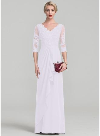 Vestidos princesa/ Formato A Decote V Longos Tecido de seda Renda Vestido para a mãe da noiva com Beading Babados em cascata