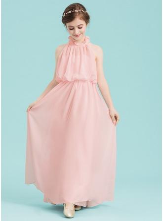 A-Line/Princess High Neck Floor-Length Chiffon Junior Bridesmaid Dress With Cascading Ruffles