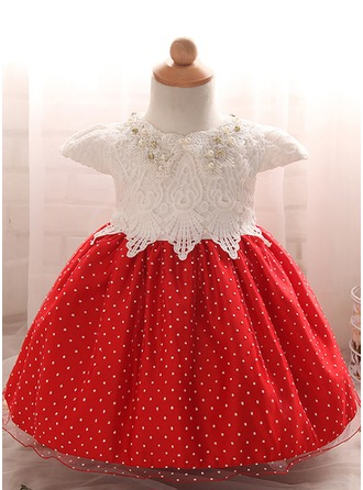 A-Line/Princess Knee-length Flower Girl Dress - Tulle/Polyester/Cotton Short Sleeves Scoop Neck With Beading/Bow(s)