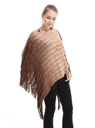 Tassel/Couture Énorme Laine artificielle Poncho