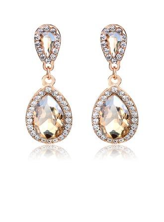 Boucles d'oreilles pendantes Géométrique Unique Alliage cristal strass Percées Boucles d'oreilles