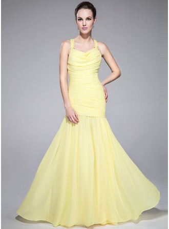 Trumpet/Mermaid Cowl Neck Sweep Train Chiffon Holiday Dress With Ruffle Beading Sequins
