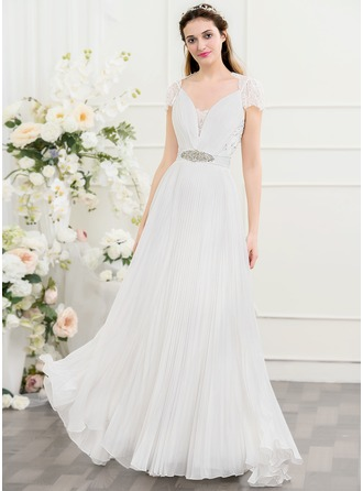 A-Line/Princess V-neck Sweep Train Chiffon Wedding Dress With Beading Sequins Bow(s) Pleated