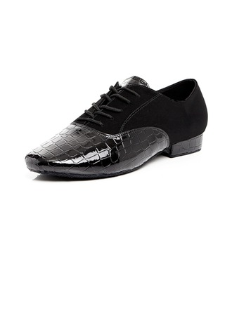 Men's Leatherette Latin Ballroom Practice Character Shoes With Lace-up Dance Shoes