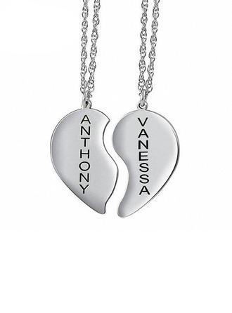 Henkilökohtaista Parit' Ikuinen rakkaus 925 sterlinghopea hopea jossa sydän Nimi/syöpynyt/Baari Kaulakorut Hänen/Kukkastyttö