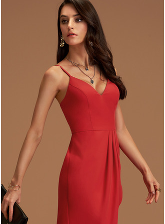 V-neck Red Stretch Crepe Charmeuse Dresses