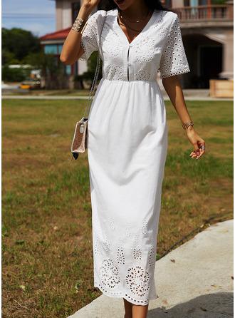 Solid A-line Short Sleeves Maxi Elegant Skater Dresses