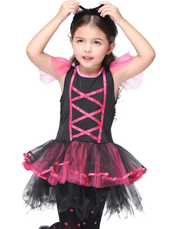 A-Line/Princess Short/Mini Flower Girl Dress - Polyester Short Sleeves Scoop Neck