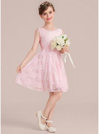 A-Linie/Princess-Linie U-Ausschnitt Knielang Lace Kleid für junge Brautjungfern mit Schleife(n)