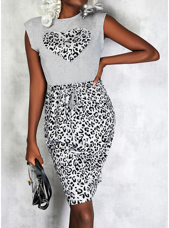 Leopard Print Heart Sheath Sleeveless Midi Casual Dresses