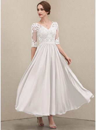 Трапеция V-образный Длина по щиколотку шифон Кружева Платье Для Матери Невесты