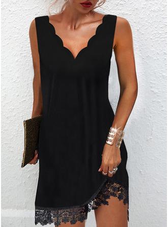 Solide Shiftjurken Mouwloos Mini Zwart jurkje Casual ()