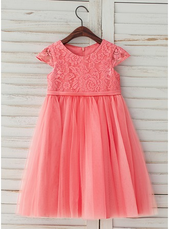 A-Line/Princess Knee-length Flower Girl Dress - Tulle/Lace Scoop Neck