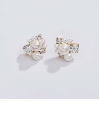 Ladies' Elegant Rose Gold Plated/Imitation Pearls Pearl Earrings For Bride
