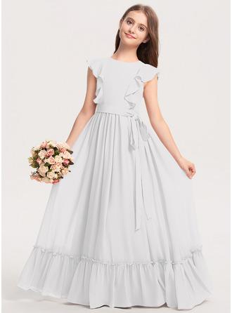 A-linjainen Pyöreä kaula-aukko Lattiaa hipova pituus Sifonki Nuorten morsiusneito mekko jossa Rusetti Laskeutuva röyhelö