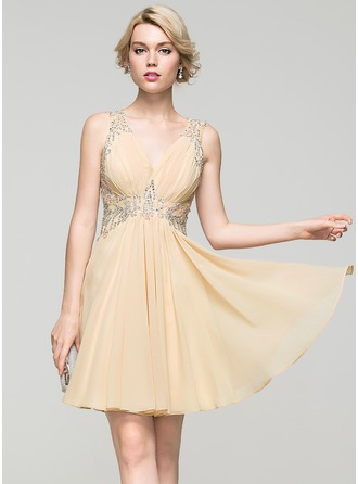 A-Line/Princess V-neck Short/Mini Chiffon Cocktail Dress With Ruffle Lace Beading Sequins