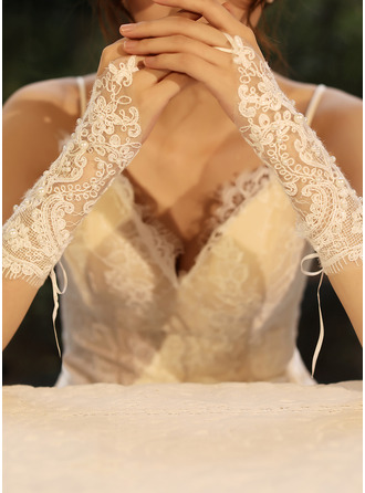 Tulle/Lace Elbow Length Bridal Gloves With Imitation Pearls