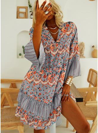 Blommig Print Shiftklänningar Långa ärmar Mini Fritids Tunika Modeklänningar