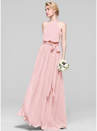 A-Line/Princess Scoop Neck Floor-Length Chiffon Bridesmaid Dress With Bow(s)