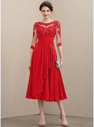 A-Linie U-Ausschnitt Wadenlang Chiffon Spitze Kleid für die Brautmutter mit Gestufte Rüschen