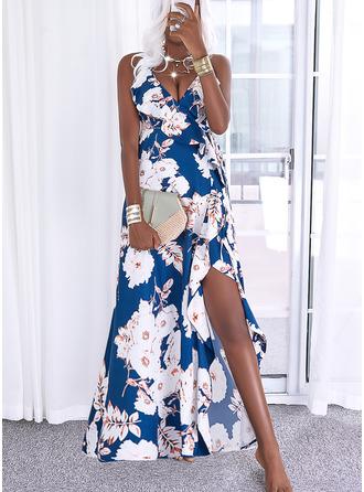 Bloemen Print A-lijn-jurk Mouwloos Maximum Casual Vakantie schaatser Typ ()