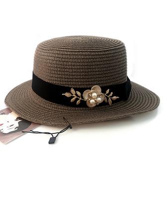 Dames Mooi Rotan Straw/Legering met Imitatie Parel Strohoed/Theepartij hoeden