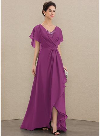 Трапеция V-образный асимметричный шифон Платье Для Матери Невесты с развальцовка блестки