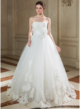 Платье для Балла В виде сердца Sweep/Щетка поезд Тафта Тюль Свадебные Платье с Рябь кружева Бисер блестками