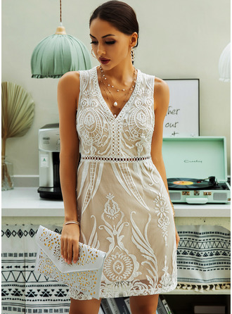 Lace Solid Sheath Sleeveless Mini Casual Tank Dresses