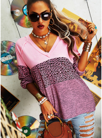 Leopard Color Block V-Neck Long Sleeves Casual T-shirt (1003255039)