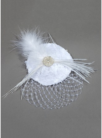 Satin/Net With Feather Fascinators