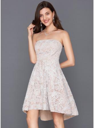 A-Line/Princess Strapless Asymmetrical Lace Cocktail Dress