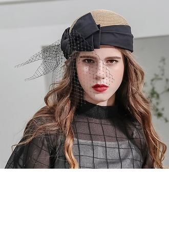 Damene ' Vakkert/Mote/Glamorøse Raffia Strå med Bowknot/Tyll Baqueira Hatt