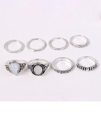 Mode Legierung Acryl mit Acryl Frauen Mode Ringe (Set von 8 Paare)