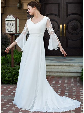 Vestidos princesa/ Formato A Decote V Cauda de sereia Tecido de seda Vestido de noiva com Renda Beading
