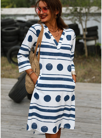 PolkaDot Striped Shift 3/4 Sleeves Midi Casual Tunic Dresses