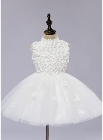Forme Princesse Longueur genou Robes à Fleurs pour Filles - Organza/Satiné Sans manches Col rond avec Fleur(s)