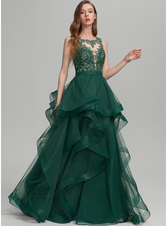 Ball-Gown/Princess Scoop Neck Floor-Length Tulle Evening Dress With Ruffle Lace