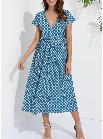 Print Shift Short Sleeves Midi Casual Tunic Dresses
