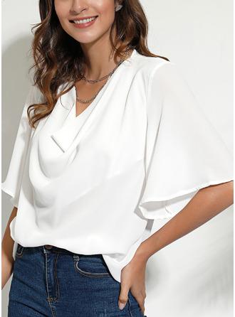 Solid V-Neck 1/2 Sleeves Casual Elegant