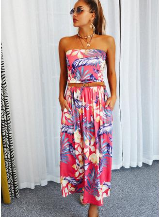 Цветочный Распечатать A-линии безрукавный Макси Повседневная Конькобежец Модные платья