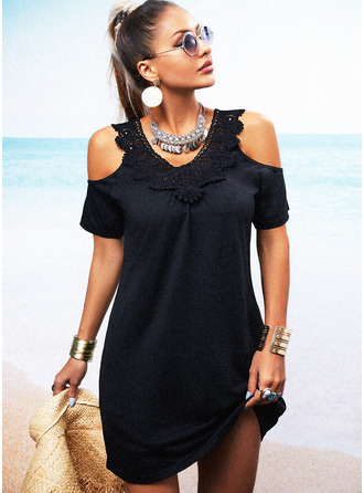 Lace Solid Shift Short Sleeves Mini Little Black Casual Tunic Dresses