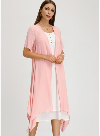 Midi Round Neck Linen Short Sleeves Solid Fashion Dresses